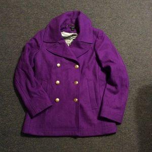 J. Crew Purple Wool Pea Coat 8